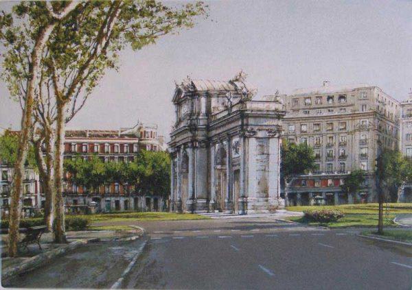 Grabado de la Puerta de Alcalá en Madrid