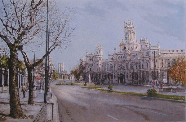 grabado al aguatinta del Ayuntamiento de Madrid o antigua Casa de Correos