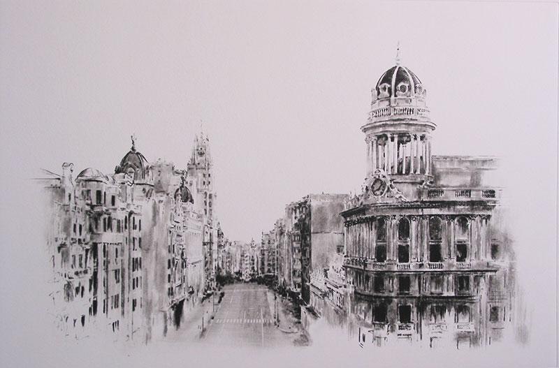 Grabado en punta seca de la Gran Vía de Madrid