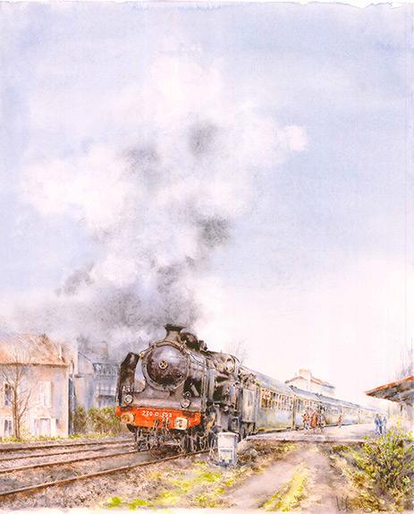 obra gráfica acuarela de trenes